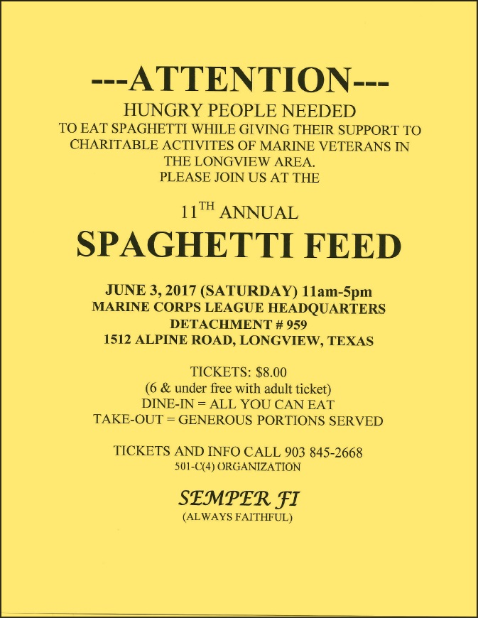 2017 Spaghetti Feed Flyer